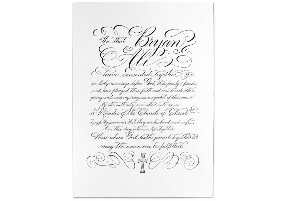 wedding proclamation hand calligraphy