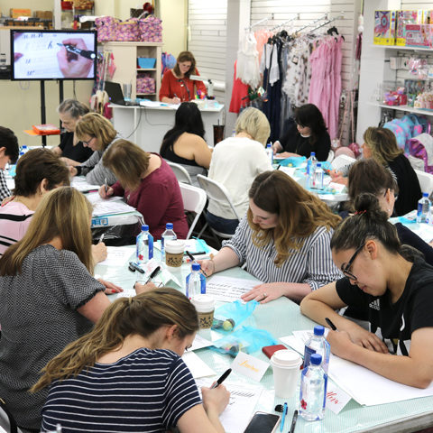 Brush Lettering Class - Berings on Westheimer